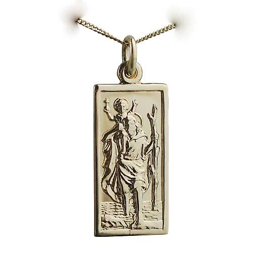 18ct Gold 26x13mm rectangular St Christopher Pendant with a curb Chain 16 inches Only Suitable for Children
