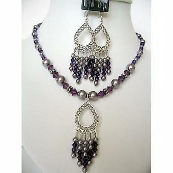 Swarovski lilla perler ametyst krystaller dingler anheng halskjede