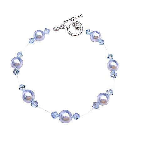 Bridesmaid Wedding Aqumarine Pearls Crystals Inexpensive Bracelet