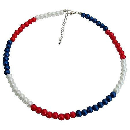 Red White and Blue Necklace Patriotic Jewelry Independence Day jewelry