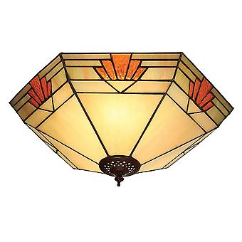 Nevada store Tiffany to lys Flush Ceiling Fixture - interiør 1900 64284