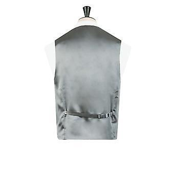 Dobell Mens Silver Waistcoat Regular Fit Dupion 5 Button