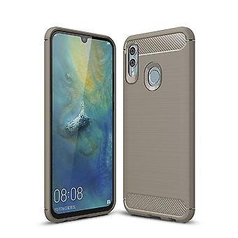 Huawei P smart 2019 TPU case carbone fibre optique brossé gris housse de protection