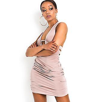 IKRUSH Womens Luna Slinky figurbetonten Neckholder Kleid