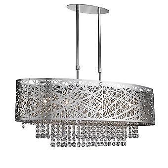 Mica Chrome, kristal en glas vijf licht verstelbaar hanger - zoeklicht 3055-5CC