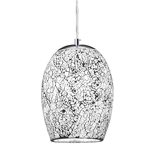 Searchlight 8069WH Crackle Chrome Pendant With White Silver Mosaic Glass