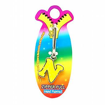 OOTB Initial N Yellow Hand Painted Base Metal 4.5 cm Glitter Zipper Puller