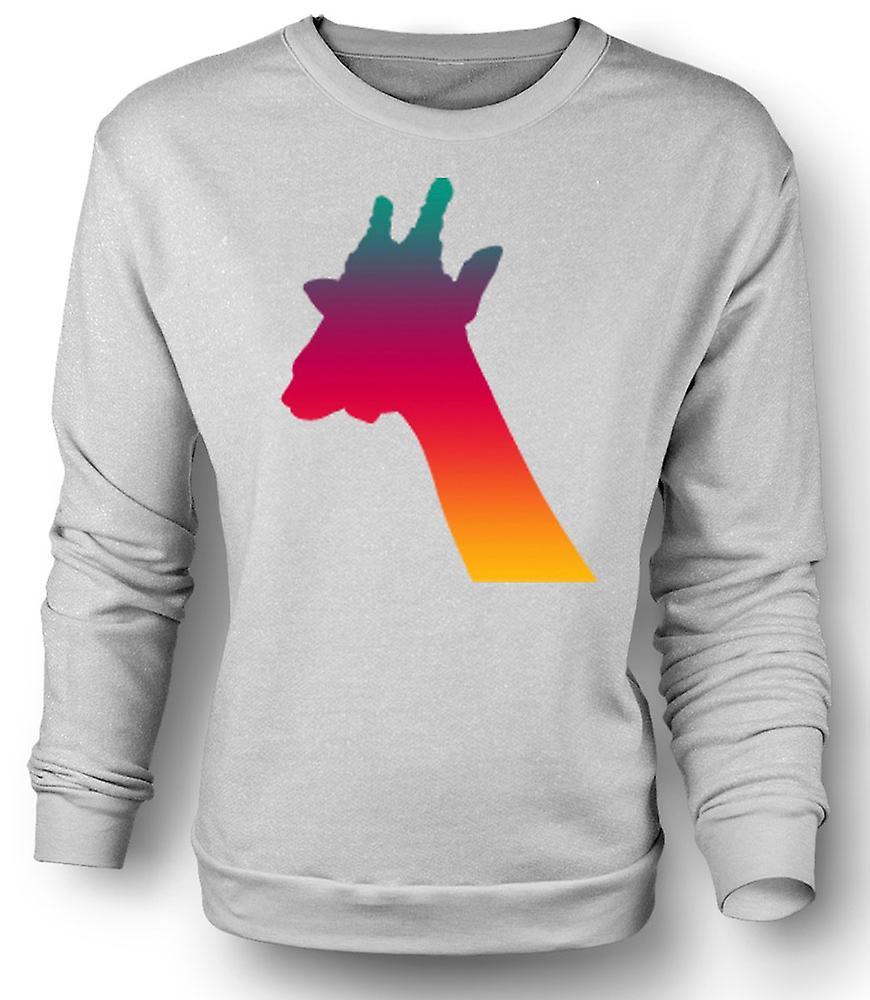 Mens Sweatshirt Rainbow Giraffe psykedelisk Design