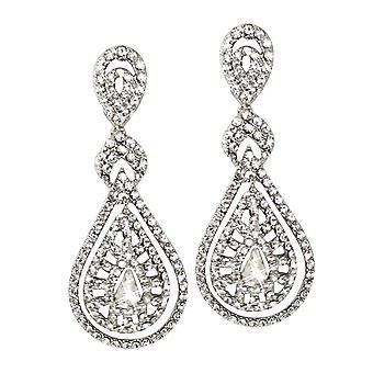 Eternal Collection Crystal Elegance Diamante Silver Tone Drop Pierced Earrings