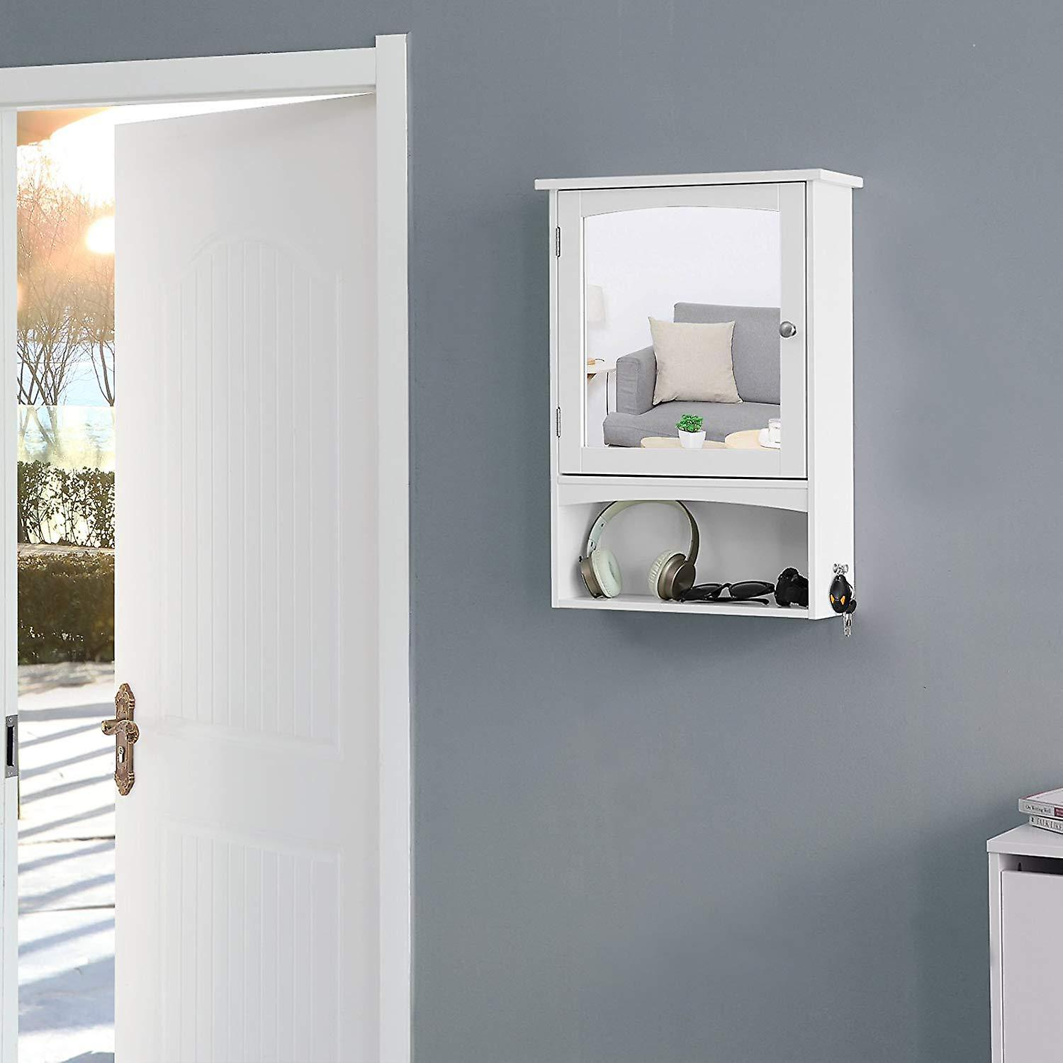 Medicine cabinet with mirror and open box-white