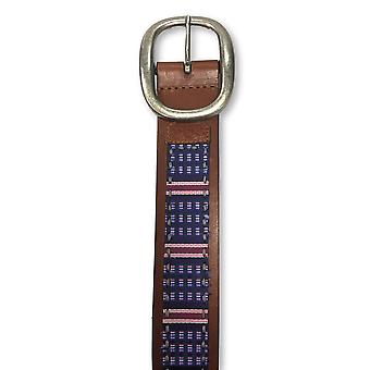 Robert Graham leather belt in brown/purple embroidered strip