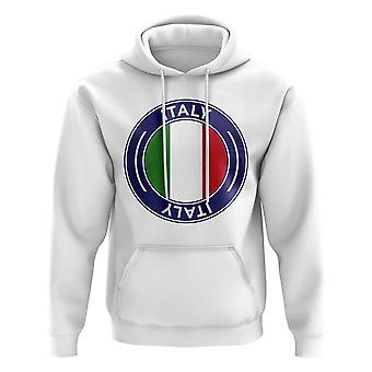 Italy Football Badge Hoodie (White)