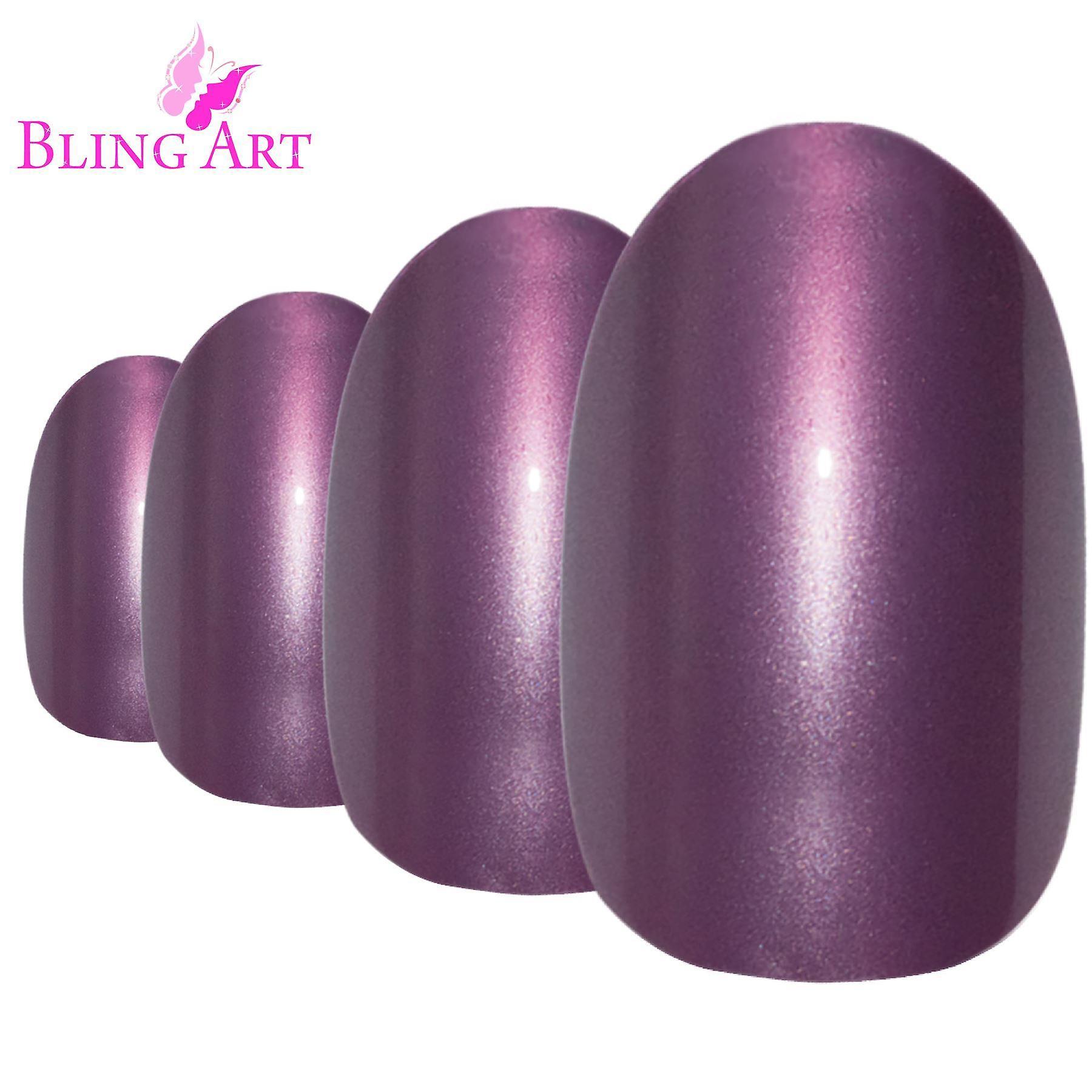 False nails by bling art purple glitter oval medium fake acrylic 24 tips with glue