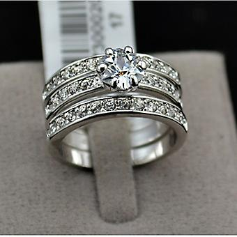 18K White Gold Plated 3 Paved Band Ring