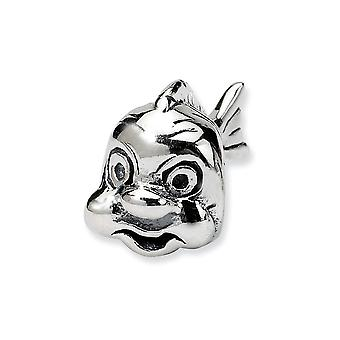 925 Sterling Argento lucido Antiquariato Riflessioni SimStars Pesce Perline Charm
