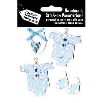 Express Yourself MIP 3-d-Sticker-blau Baby Kleider & Booties DIYT244
