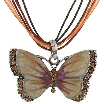 Cream Enamel & Topaz Crystal Butterfly Pendant Necklace