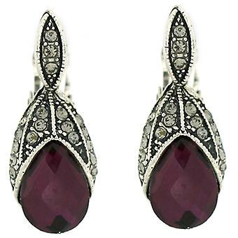 Klip på øreringe butik Digitate blad ametyst lilla krystal klip på øreringe