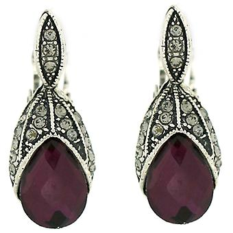 Clip op oorbellen winkel Digitate blad Amethyst paars kristal Clip op oorbellen
