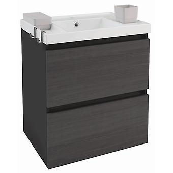 Bath+ Sink cabinet 2 drawers Front Slate Gloss Anthracite-60CM