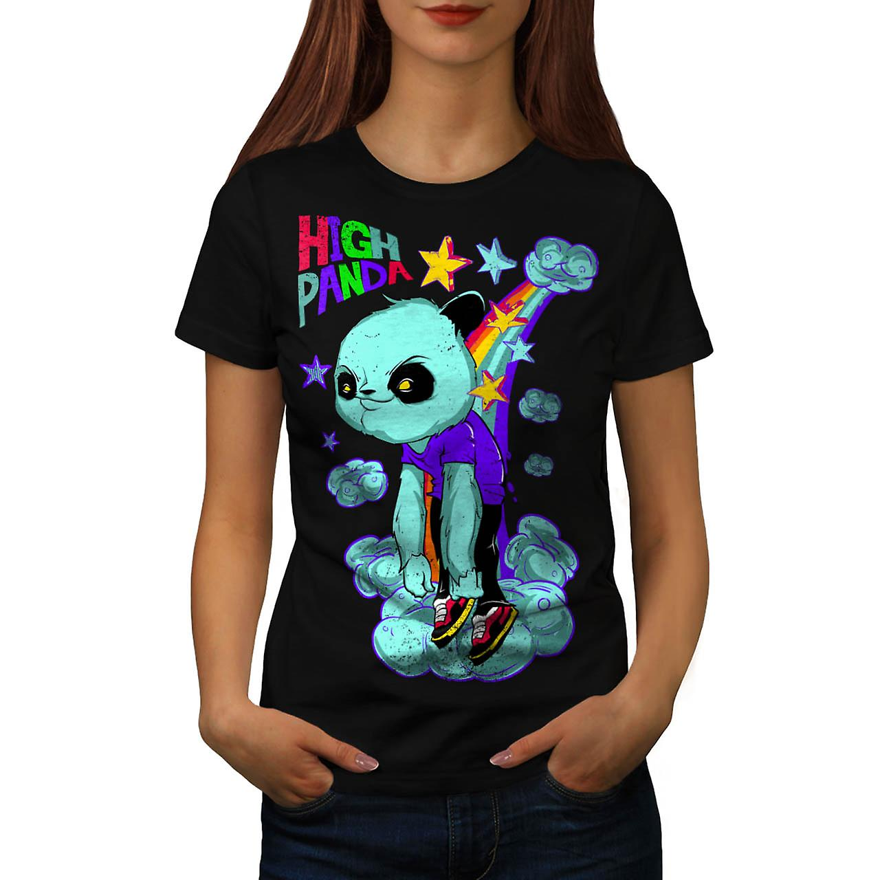 High Evil Panda China Rainbow Women Black T-shirt | Wellcoda