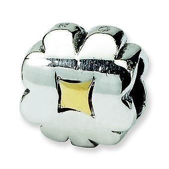 Sterling Silver 14k Reflections SimStars Clover Bead Charm