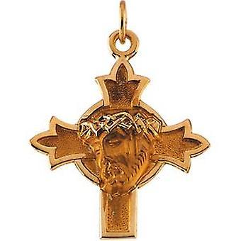 14k oro giallo testa di Gesù corona pendente croce 22.5x21.5mm - 1,5 grammi