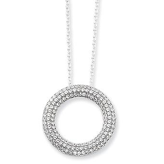 Sterling Silver Pave Rhodium-plated Lobster Claw Closure and Cubic Zirconia Polished Circle Necklace - 18 Inch