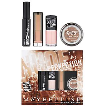 Maybelline Nude Perfection Dare to Go Nude - Brow Drama Mascara Lipstick, Varnish, Color Tattoo