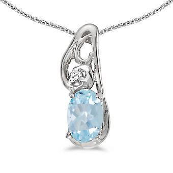 10k White Gold Oval Aquamarine And Diamond Pendant with 18