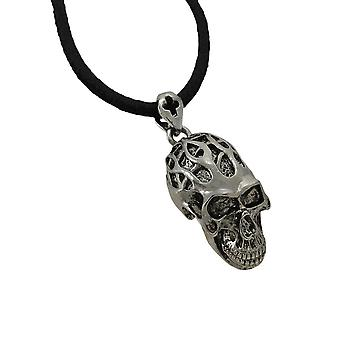 Tribal Flames Skull Pendant W/ Leather Necklace