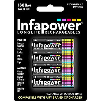 Infapower B003 AA 1300mAh Ni-Mh Rechargeable Batteries 4 Pack (B003)