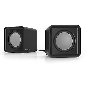 SPEEDLINK Twoxo estéreo compacto cubo USB bocinas - negro (SL-810004-BK)