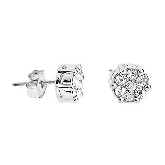 Iced Out Bling Ohrstecker Box - CLUSTER 8mm silber