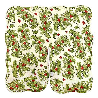 Festive Holly Berry Quilted Tabletop Christmas Tree Skirt 15 Inches Reversible