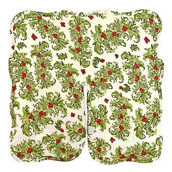 Festlig Holly Berry quiltet bordplade juletræ nederdel 15 tommer Vendbar