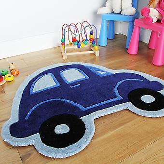 Boy's Blue Race Car Childrens Rug