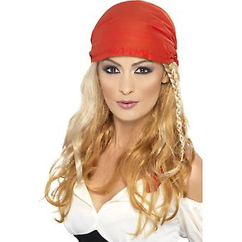 Pirate wig with pigtail blond women with headscarves Buccaneer pirate wig