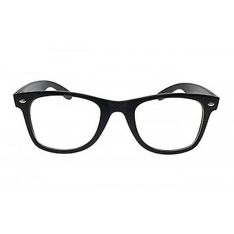 W.A.T Retro Black Framed Clear Glass Geek Glasses