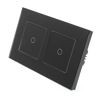 I LumoS Black Glass Double Frame 2 Gang 2 Way Touch Dimmer LED Light Switch Black Insert