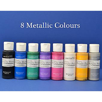 docrafts Artiste Acrylic Paint Collection of 8 Metallic Colours