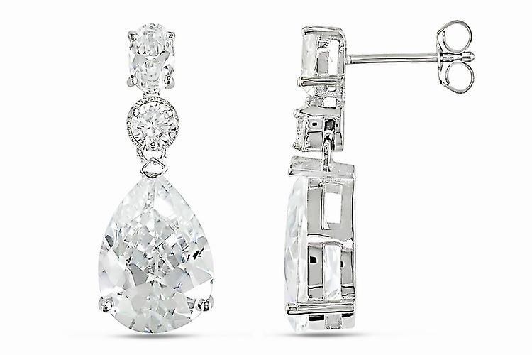 Affici 18ct White Gold on 925 Sterling Silver Drop Earrings with Diamond CZ Gems