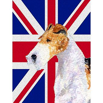 Fox Terrier with English Union Jack British Flag Flag Canvas House Size