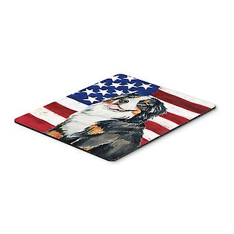 USA American Flag with Bernese Mountain Dog Mouse Pad, Hot Pad or Trivet