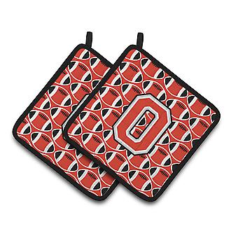 Letter O Football Scarlet and Grey Pair of Pot Holders