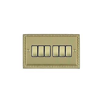 Hamilton Litestat Cheriton Georgian Polished Brass 6g 10AX 2 Way Rkr PB/BL