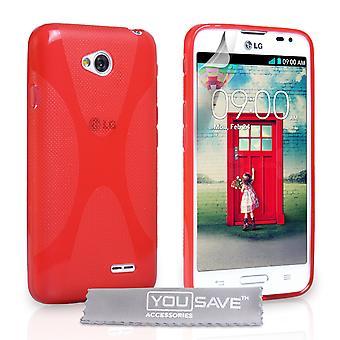 Yousave akcesoria LG L70 silikonowy żel X-Line Case - czerwony