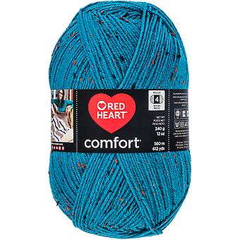 Red Heart Comfort Yarn-Teal Fleck E707D-5104