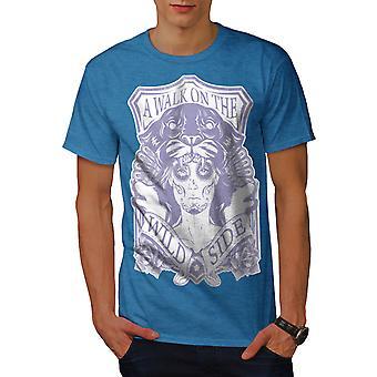 Gehen Sie auf wilde Seite Männer Royal BlueT-Shirt   Wellcoda