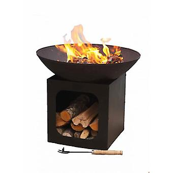 Gardeco Isla Large Cast Iron Fire Bowl With Log Store